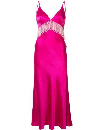 Розовое платье с бахромой на молнии Dalood