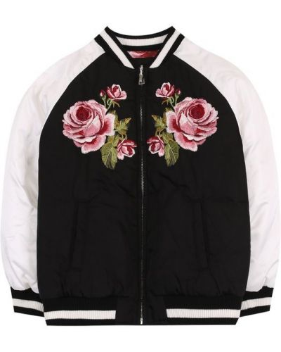 Черный бомбер с вышивкой Dolce & Gabbana