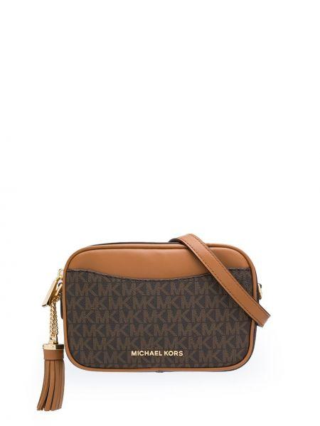 Коричневая сумка через плечо круглая с перьями Michael Michael Kors