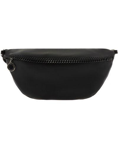 Черный тонкий ремень с карманами на молнии Stella Mccartney