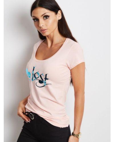 Różowy t-shirt bawełniany miejski Fashionhunters