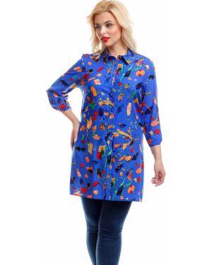 Джинсовая рубашка с принтом из штапеля Liza Fashion
