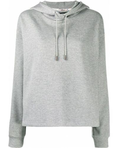 Шелковый серый свитер с капюшоном свободного кроя Raeburn