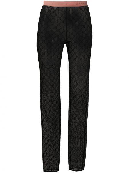 Bawełna czarny zawężony legginsy z logo Gucci