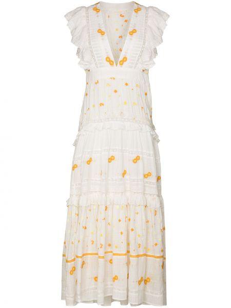 Хлопковое белое платье макси с вышивкой Loveshackfancy