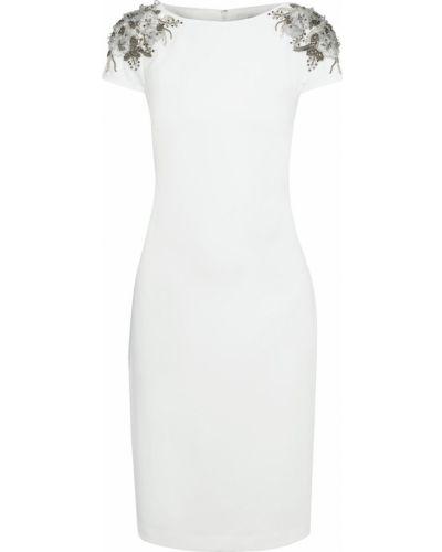 Белое платье на крючках из крепа Badgley Mischka