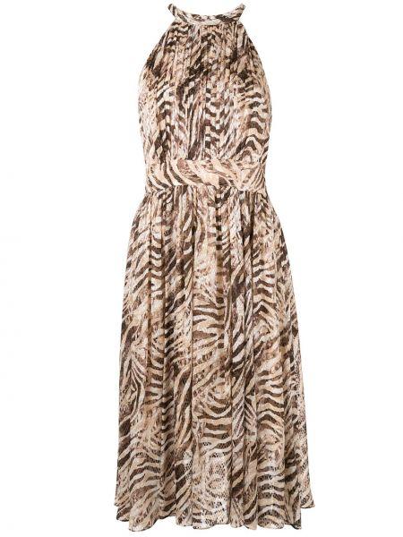 Brązowa satynowa sukienka mini bez rękawów Elie Tahari