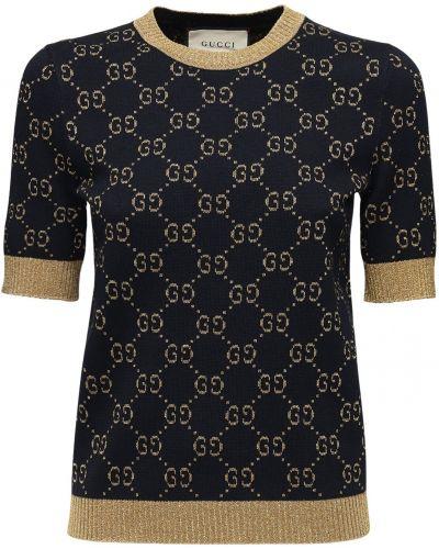 Bawełna sweter z kołnierzem z dekoltem okrągły Gucci
