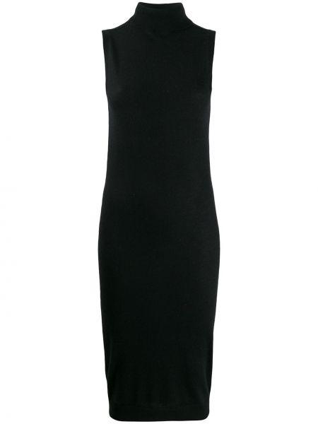 Prążkowana czarna sukienka bez rękawów Frenckenberger