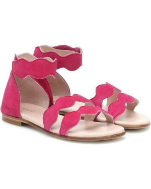 Skórzany sandały różowy żółty Chloé Kids