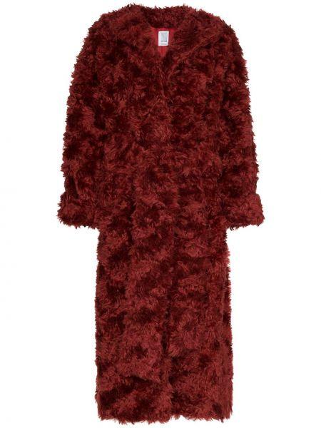Czerwony płaszcz z długimi rękawami moherowy Rosie Assoulin