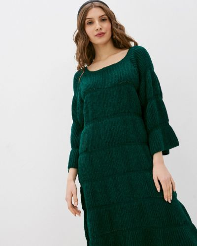 Трикотажное зеленое вязаное платье Rinascimento