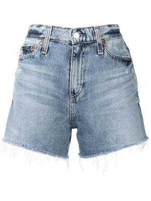 Джинсовые шорты на молнии - синие Ag Jeans