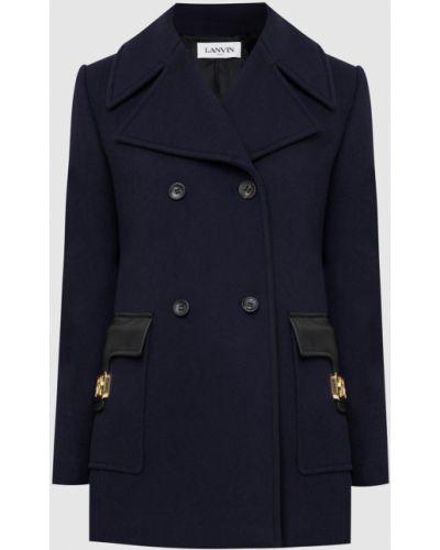 Синее шерстяное пальто Lanvin