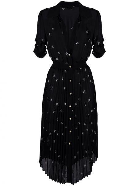 С рукавами черное платье миди с вышивкой Pinko