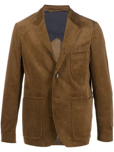Коричневый приталенный классический пиджак с заплатками с лацканами Closed