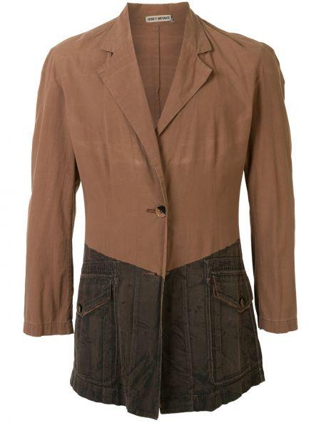 С рукавами коричневый прямой пиджак на пуговицах Issey Miyake Pre-owned