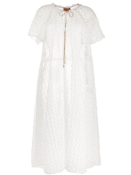 С рукавами белое платье мини прозрачное Missoni