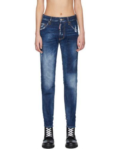 Синие зауженные джинсы-скинни с карманами Dsquared2