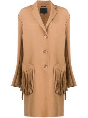 С рукавами шерстяное пальто оверсайз с бахромой R13