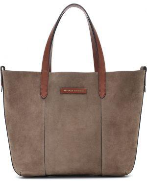 Кожаная сумка шоппер замшевая Brunello Cucinelli