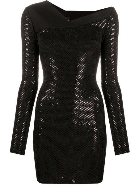 Прямое черное платье макси с вырезом Just Cavalli