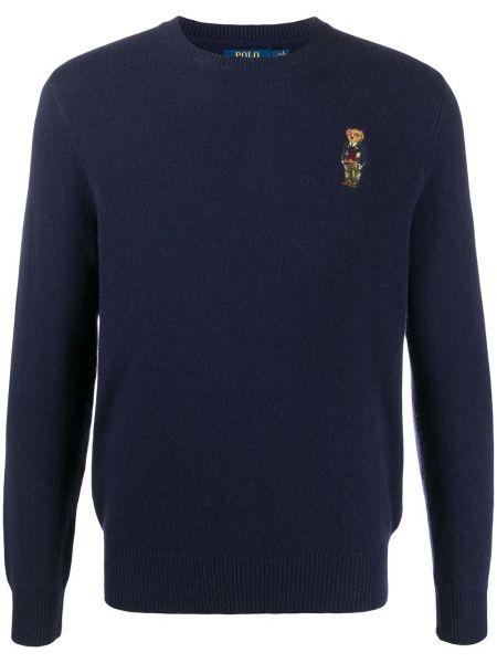 Niebieski koszulka polo z haftem z długimi rękawami z mankietami Polo Ralph Lauren