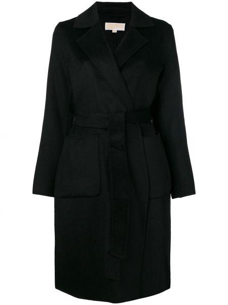 Однобортное коралловое шерстяное длинное пальто с поясом Michael Michael Kors