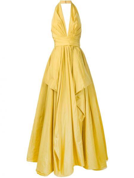 Желтое шелковое платье макси без рукавов Zuhair Murad
