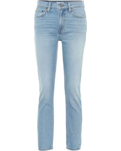 Ватные хлопковые синие зауженные укороченные джинсы Re/done