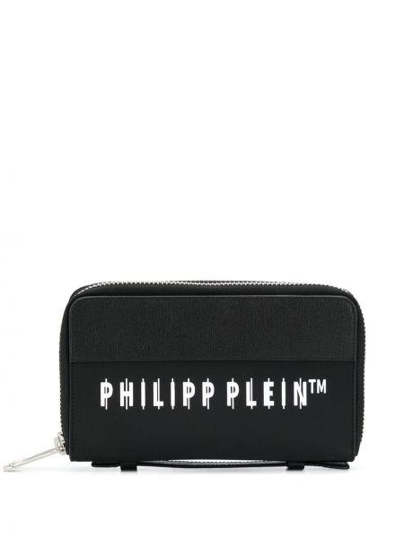 Черный кожаный клатч на молнии Philipp Plein