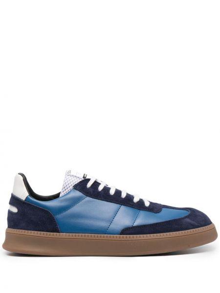 Niebieskie tenisówki koronkowe skorzane Spalwart
