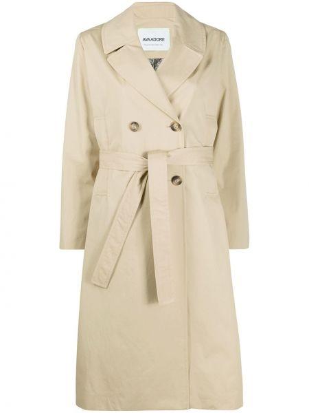 Бежевое длинное пальто с воротником с поясом двубортное Ava Adore