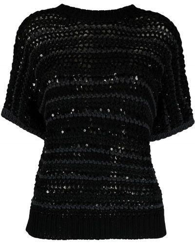 Черный вязаный свитер в полоску Brunello Cucinelli