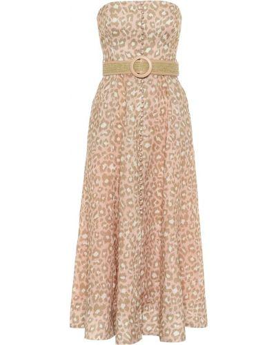 Миди кожаное розовое платье Zimmermann