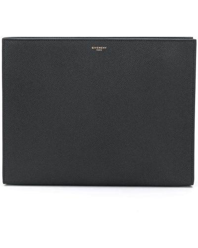 Skórzany czarny torba sprzęgło z kieszeniami Givenchy