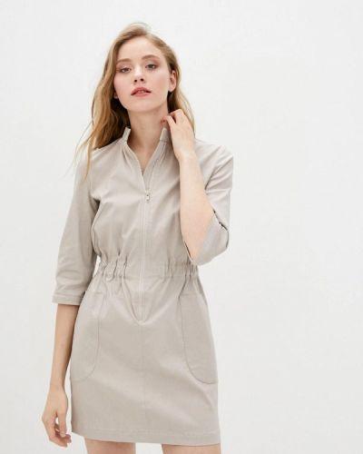 Прямое бежевое платье А-силуэта 7arrows