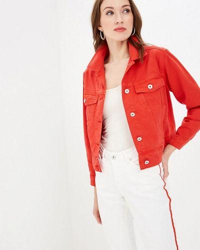 Джинсовая куртка весенняя красная Blendshe