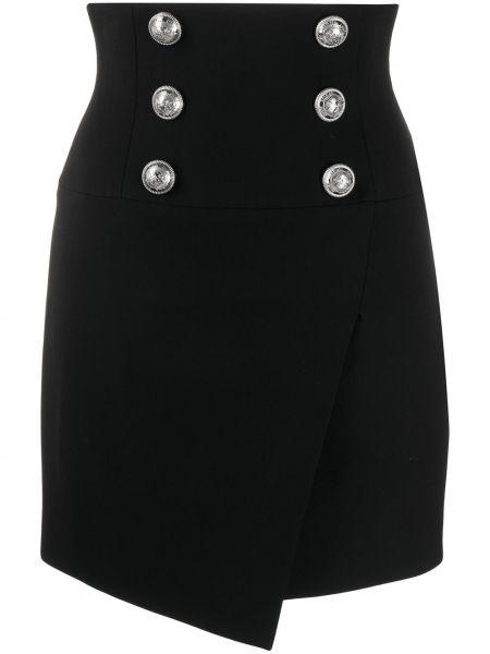 Черная асимметричная с завышенной талией юбка на молнии Balmain