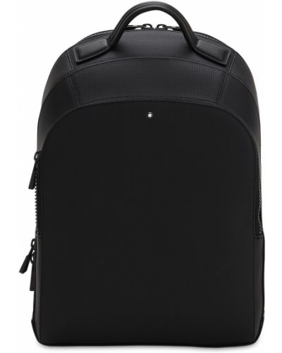 Кожаный черный рюкзак для ноутбука на бретелях с карманами Montblanc