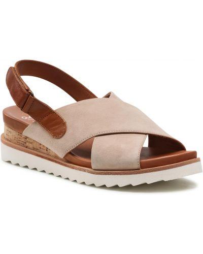 Sandały skórzane - beżowe Ara