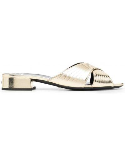 Złote sandały peep toe na obcasie Gucci