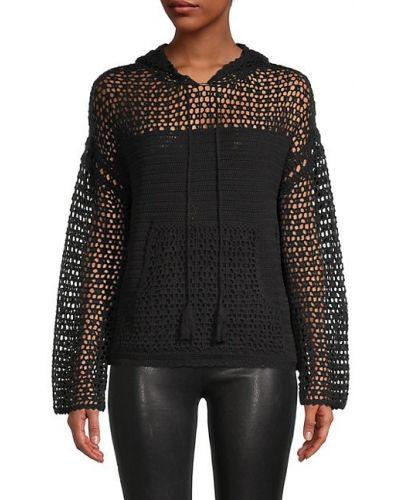 Czarny długi sweter z kapturem bawełniany Central Park West