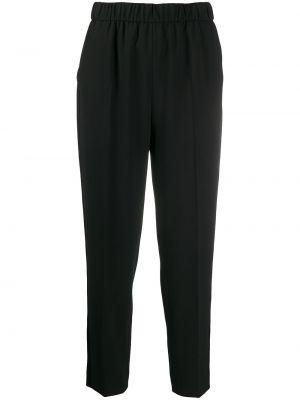 Черные укороченные брюки с поясом с высокой посадкой Escada