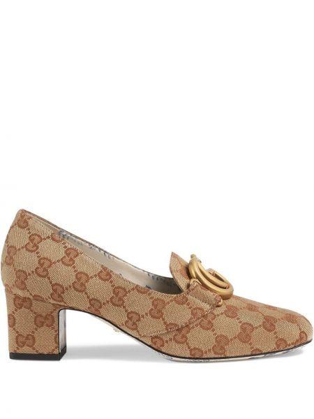 Туфли на каблуке кожаные парусиновые Gucci