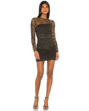 Черное платье мини сетчатое на молнии с оборками H:ours