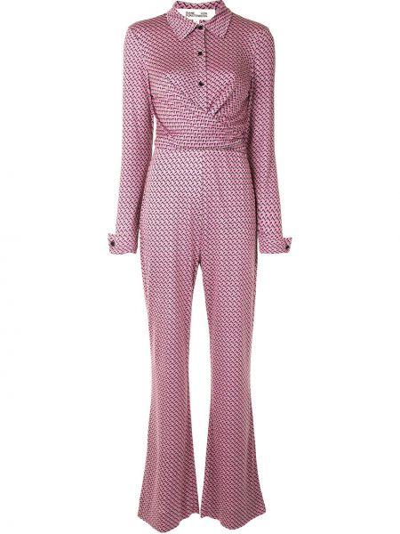 Шелковый розовый классический комбинезон на пуговицах Dvf Diane Von Furstenberg