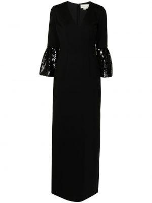 Czarna sukienka długa koronkowa z dekoltem w serek Sachin & Babi