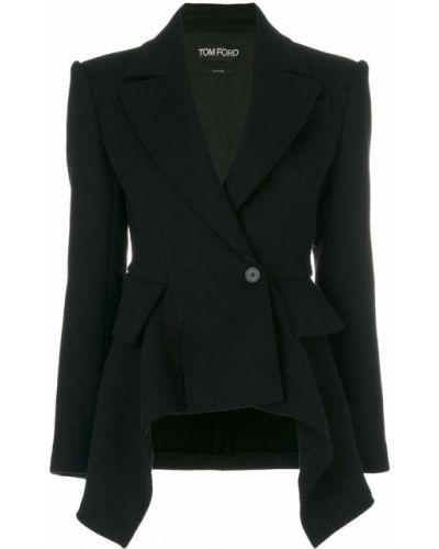 Черный пиджак с баской Tom Ford