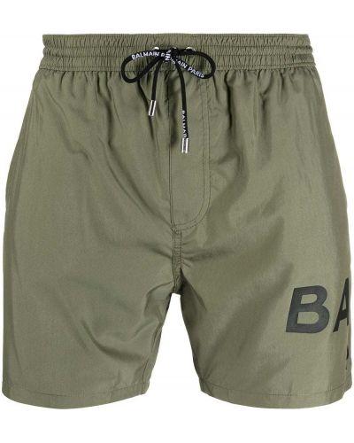 Хлопковые черные шорты для плаванья с карманами Balmain